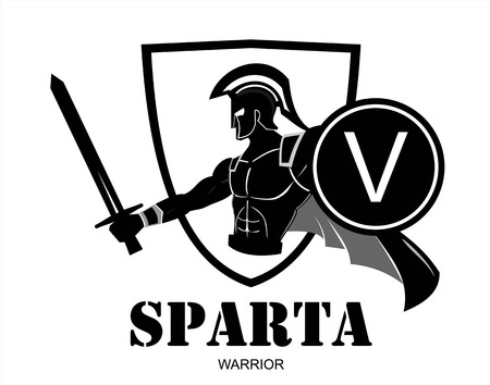 Spartan warrior silhouette holding shield and sword over the shield icon.