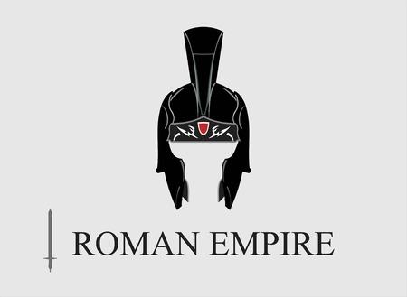 Elegante casco Centurion, combinado con texto. Ilustración de vector