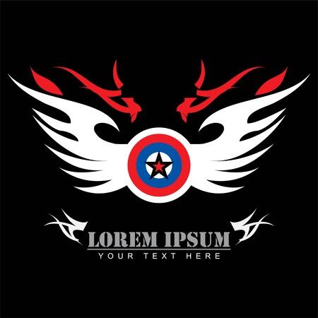 Star on winged circle, mascot vector illustration.  イラスト・ベクター素材