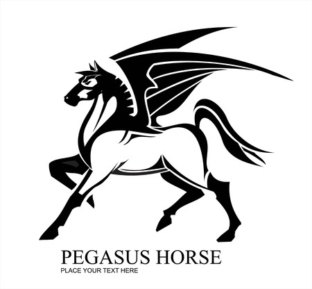 Pegasus Horse in black and white.  イラスト・ベクター素材