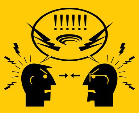 Dos hombres enojados La gente discutiendo. Dos colegas discutiendo ilustración.