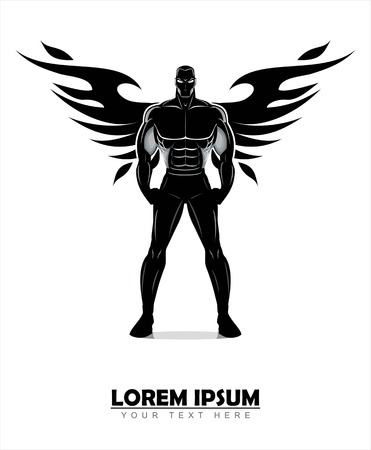 Winged standing man vector illustration