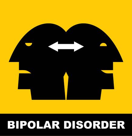 Bipolar disorder with two heads illustration
