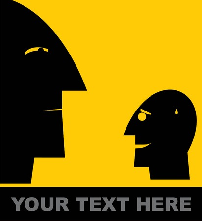 Mental, head icon, inferiority, inferior concept vector illustration. Illustration