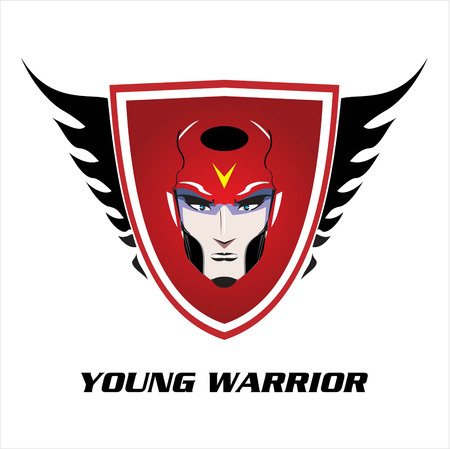 Young hero on the red winged shield. head of young warrior over the red shield.
