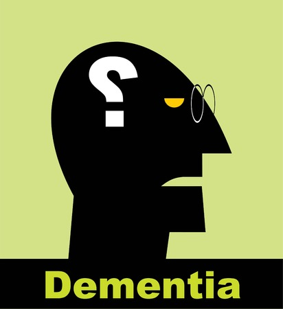 Mental health symbol conceptual design. Side profile of a human face with the question mark inside as a symbol for neurology and dementia or memory loss.