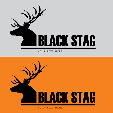 Black Buck. Black stag silhouette with beautiful horn Combine with the text. Suitable for community identity, product identity, corporate identity, illustration for apparel,clothing, illustration,etc