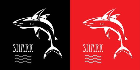 Shark on black and red background