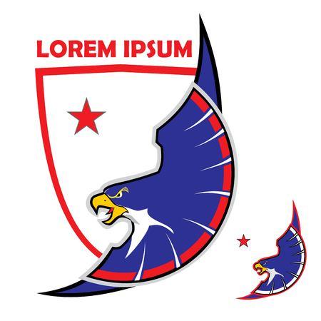 Eagle and shield, falcon icon on shield.