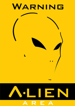 Alien face in yellow background with text Illustration