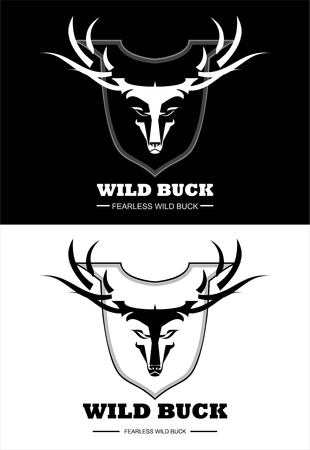 wild buck in black and white.