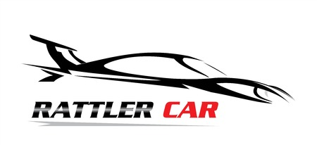 rattler car icon with car silhouette on white background. Vector illustration.