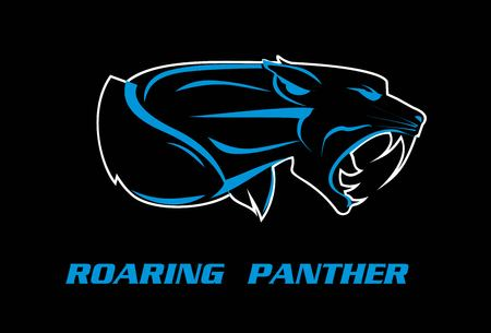 roaring panther text and panther silhouette with blue lines vector illustration on black background.