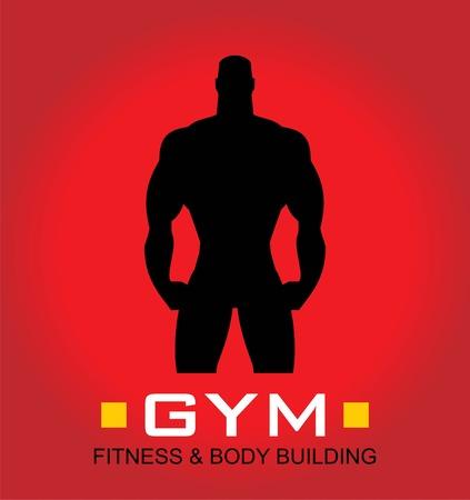 Gym icon, body builder silhouette.