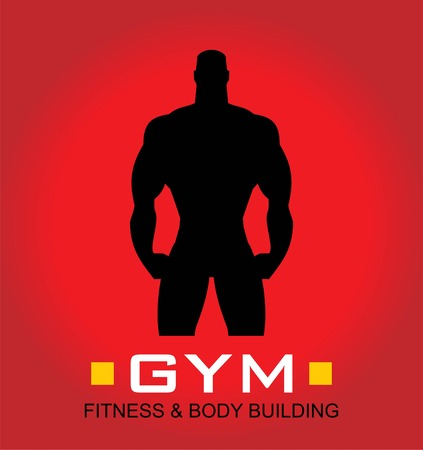 Gym icon, body builder silhouette.