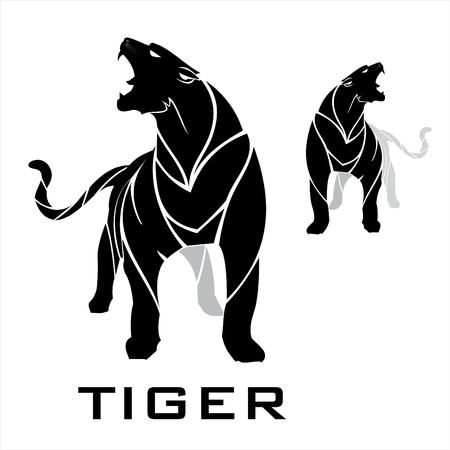 Tiger roaring on white background. Stock Vector - 97422845