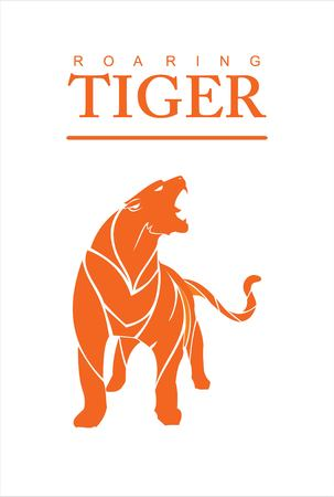 Roaring tiger on white background.