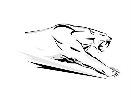 Attacking jaguar on white background. Illustration