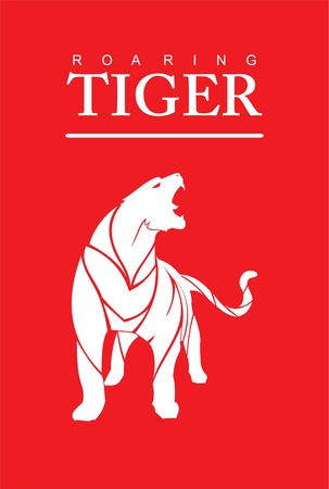 Tiger roaring on red background.