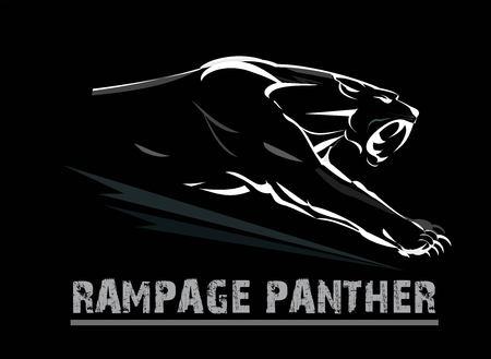 panther, atacking panther. Illustration