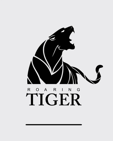 Fearless tiger, roaring predator, roaring Tiger. Tiger head, elegant tiger head. Tiger half body, Roaring fang face combine with text.
