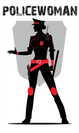policewoman isolated on white  イラスト・ベクター素材