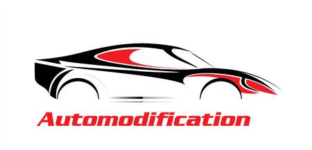 Elegant car illustration, car icon in black and red over the white background, drawing, outline. combine with text