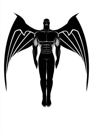 Flying winged man. Winged Human silhouette. Winged Male Anatomy concept. Illustration