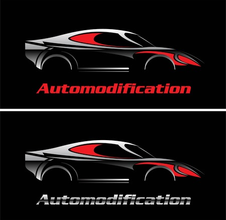 Glowing silver car illustration over the black background combine with red coloured text and silver metallic text