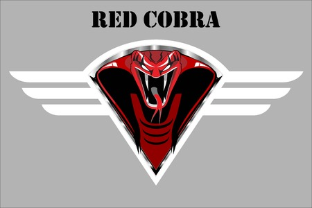 Red cobra on the white winged metallic shield on the grey background.