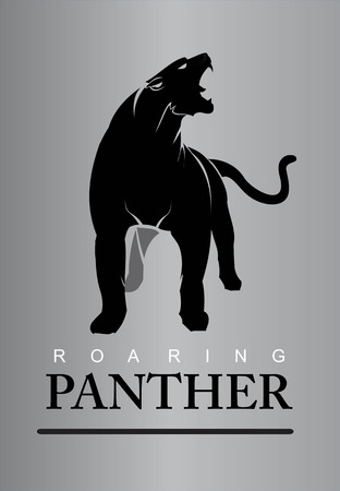 Fearless, roaring and elegant panther. Panther full body. Roaring fang face combine with text. Çizim