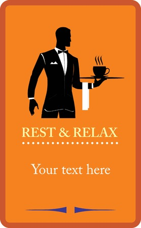 Waiter holding a tray. Restaurant. Coffee shop design elements. Design for restaurant, cafe, bar, coffeehouse. Illustration for your dining room, working room,  Restaurant. Coffee shop, cafe, etc. Stock Vector - 97531147