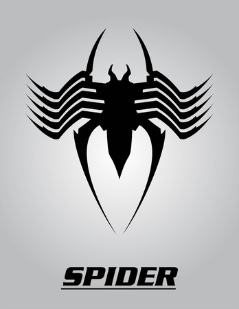 Elegant Black Spider isolated on a grey background. Consist of 4 layers, spider object, text, grey background, and one hidden layer : white background.