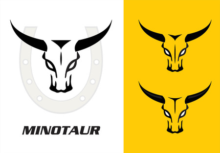 Wild bulls, minotaur, three wild bulls head with the bold horn combine with the horseshoe icon at the background