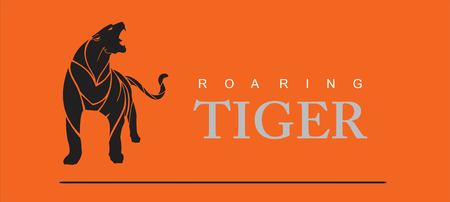 roaring tiger full body.  イラスト・ベクター素材