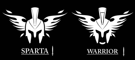 Front view of winged warrior head combine with text and sword icon. Sparta helmet, isolated on black background. Suitable for team identity, mascot, community icon, product identity, etc. Vectores