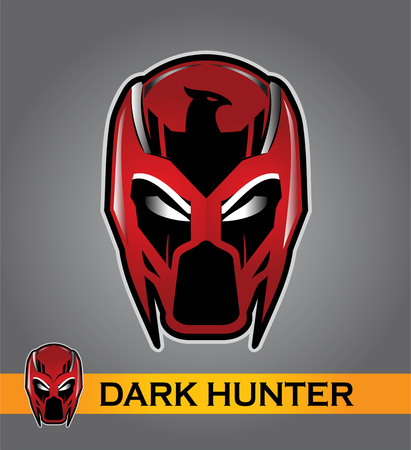 Superhero head in the gradient red color. Alien, predator artwork. Vector illustration. Superhero head illustration compose with text.