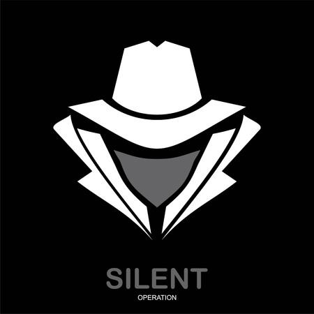 Geheimnisvoller Mann im weißen Anzug mit der Maske auf schwarzem Hintergrund Vektorgrafik
