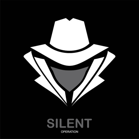 Mysterious man in white suit with the mask on black background.
