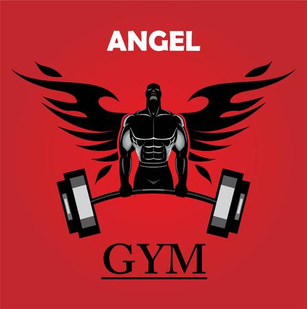 gym icon, winged body builder, no pain.