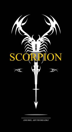 White scorpion on black background