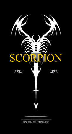 White scorpion on black background Stock Vector - 95881397