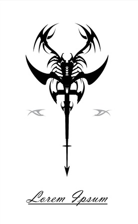 tribal shape, decoration, scorpion.