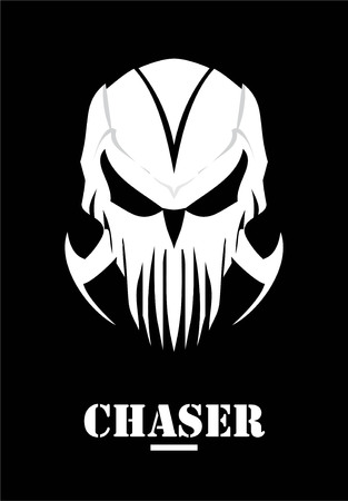 Chaser, hunter, skull with claw and white Mask. Phantom, alien, predator artwork. Suitable for team identity, insignia, emblem, illustration for apparel, mascot, motorcycle community, icon, etc. Иллюстрация
