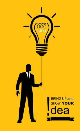 Executive idea, man hold the string of tied bright bulb, solution bulb balloon shown by the executive. Suitable for business gathering, business exhibition, business meeting, corporate gathering, etc.