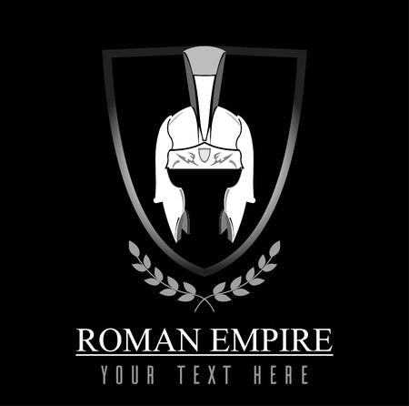 Elegante casco Centurion, combinado con texto. Símbolo del emperador, el imperio romano. Símbolo del más grande. Una ilustración del icono del emperador se combina con texto, escudo y corona de laurel.