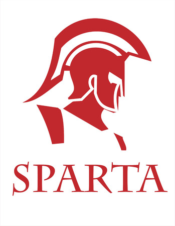 Sparta warrior head. Trojan helmet. Warrior Profile. Warrior with helmet illustration of an ancient roman warrior head. Historical Sparta concept icon. Ancient Greek head warrior Ilustração