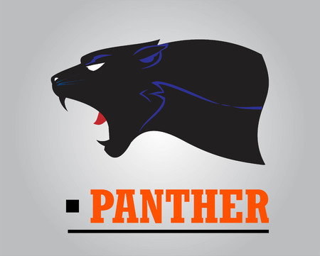 Fearless Panther. Roaring Predator. Roaring Panther. Panther head, elegant panther head. Roaring fang face.Black Panther Head combine with text. Panther Mascot Head Vector Graphic. Dark Predator  イラスト・ベクター素材