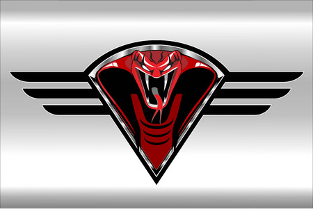 Red cobra on the black winged metallic shield on the silver background