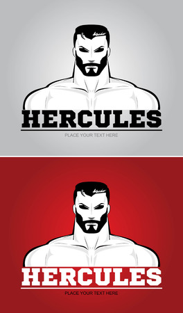Mascular man as an avatar for Hercules on gray and red background.